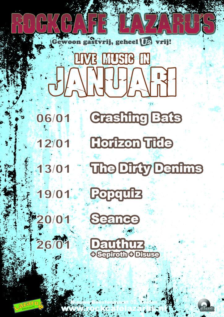 Rockcafé Lazaru's agenda live muziek januari 2018
